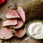 Herb-Crusted Beef Roast with Horseradish-Chive Sauce