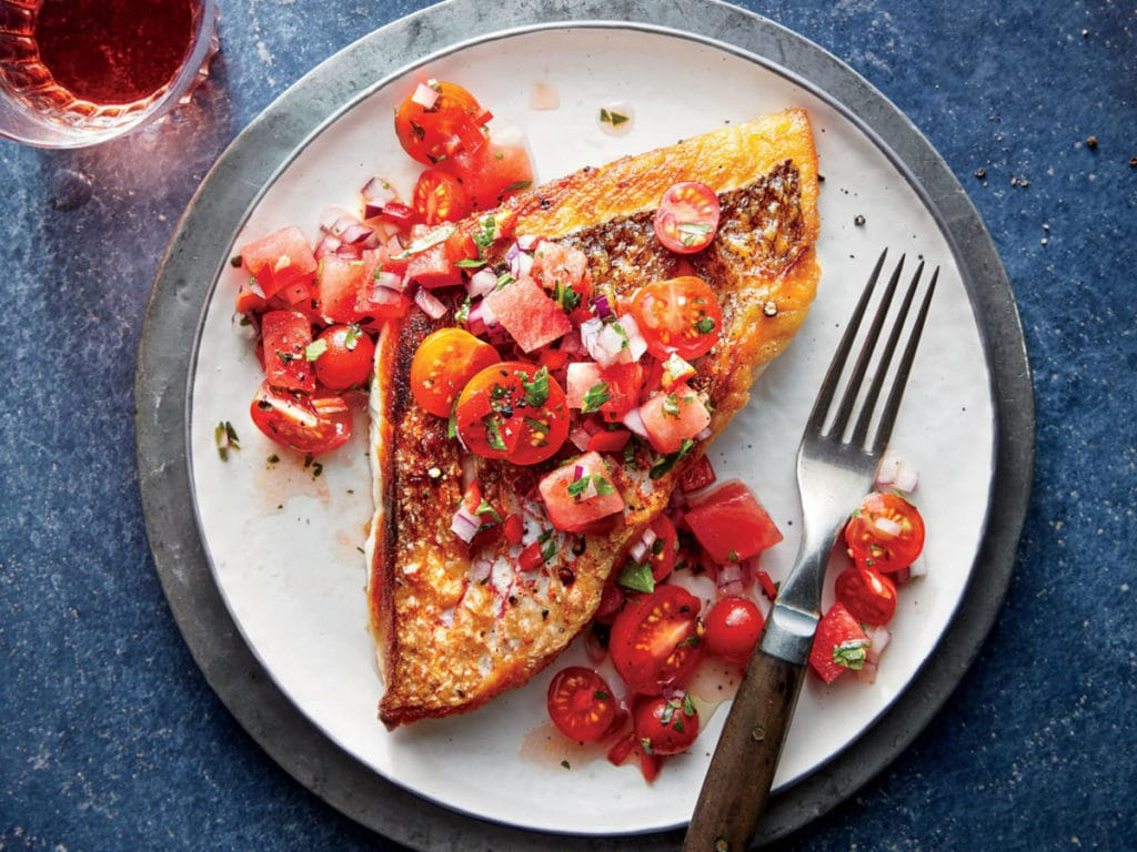 Broiled Rainbow Trout with Fresh Tomato